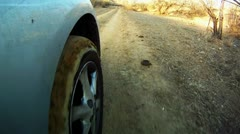 Driving at country road. View from outside car cabin. POV - stock footage