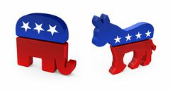 democrat donkey and republican elephant - stock photo