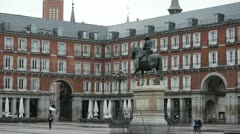 Mayor plaza in the center of Madrid; Spain Stock Footage