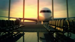 Airport terminal. Travel Transportation departure business airplane holidays. Stock Footage