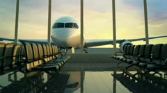 Airport terminal. Travel Transportation departure business airplane holidays. - stock footage