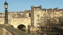 English City of Bath: Pulteney Bridge Stock Footage