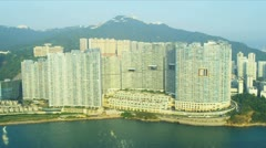 Stock Video Footage of Aerial View of Condominiums Hong Kong Island