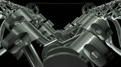 V12 Engine Front Animation.Loop + Alpha HD Stock Footage