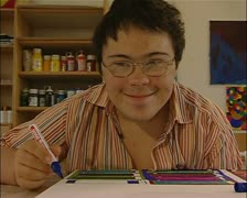 Mentally handicapped artist, Art Brut, outsider artist Stock Footage