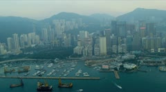 Stock Video Footage of Aerial View Dredgers Causeway Bay Hong Kong