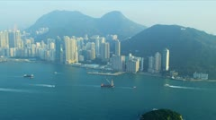 Aerial View of Lower Hong Kong Island - stock footage