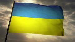 Flag Ukraine 05 Stock Footage