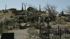 980 generic western grave site on boot hill Stock Footage