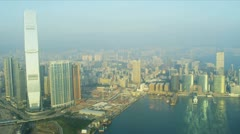 Aerial View Victoria Harbour, Hong Kong  Stock Footage