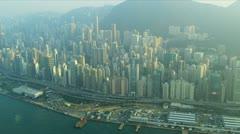 Aerial View Hong Kong Victoria Peak  - stock footage