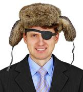 Russian pirate in business - isolated on white background Stock Photos