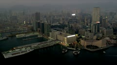 Aerial View Over Ocean Terminal, Kowloon, Hong Kong - stock footage