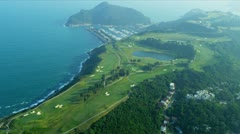 Stock Video Footage of Aerial View Coastal Golf Course Hong Kong