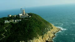 Aerial View Old Wartime Post Lighthouse Hong Kong Stock Footage