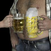 Man and painted beer belly Stock Photos