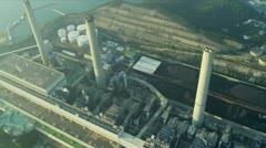 Aerial View Chimneys Lamma Power Station, Hong Kong Stock Footage