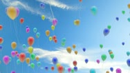 Stock Video Footage of loopable balloons flying away with alpha channel