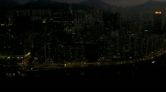 Aerial Night View Waterfront Victoria Harbour, Hong Kong - stock footage