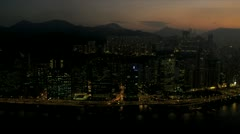 Aerial Night View Victoria Harbour, Hong Kong - stock footage