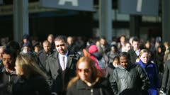 Morning commuters crowd of people walking going to work Stock Footage