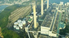 Aerial View Chimneys Lamma Power Station, Hong Kong Stock Footage