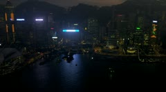 Aerial Night View Hong Kong Convention Exhibition Centre Stock Footage