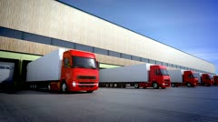 Unloading cargo. Trucks transportation logistics goods shipping delivery cargo Stock Footage