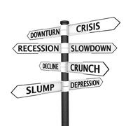 Signpost pointing to crisis Stock Illustration