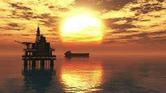 Oil Platform and Tanker in the Sunset Stock Footage