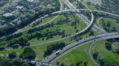 Aerial view Highway interchange, Honolulu Stock Footage