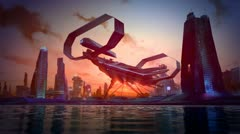 Futuristic City Skyline spaceship sci-fi aliens concept art technology skyscrape - stock footage