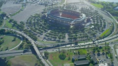 Aerial view Aloha Stadium, Honolulu, Hawaii - stock footage