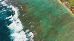 Aerial view Pacific Ocean, Hawaii Stock Footage