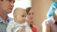 Stock Video Footage of family christening baby