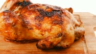 Poultry : homemade roast whole turkey on wooden cutting board Stock Footage