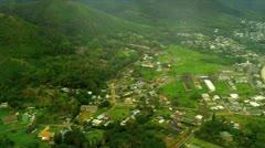 Aerial view Pacific Ocean coastline, Hawaii Stock Footage