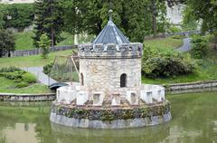 turret in the lake - stock photo