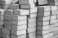 Silicate grey paving bricks in stacks Stock Photos