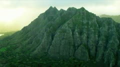 Aerial view Koolau mountain Range, Hawaii - stock footage