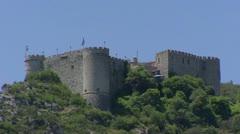 Chateaux de Trigance, Castle on hilltop + zoom out Provence landscape Stock Footage