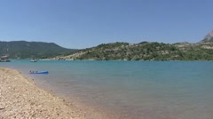 Lake of Sainte-Croix in France, Provence - pan Stock Footage