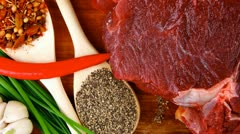 Butchery : fresh raw beef lamb big rib ready to cooking with green stuff Stock Footage