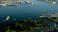 Stock Video Footage of Aerial view Missouri Battleship, Pearl Harbor, Hawaii