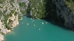 Lake of Sainte-Croix tilt up Gorge du Verdon in France, Provence Stock Footage