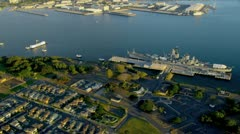 Aerial view Missouri Battleship, Pearl Harbor, Hawaii Stock Footage