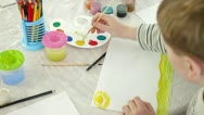 Stock Video Footage of child drawing in watercolor