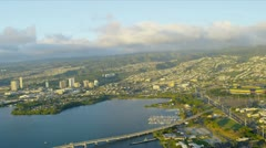 Aerial view of Ford Island, Hawaii Stock Footage