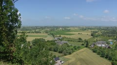 View over French landscape from Mont Dol to coast English Channel Stock Footage