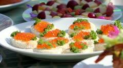 Red caviar sandwich - stock footage